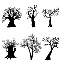 Set of halloween trees with bats spiders and owl vector