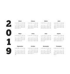Simple calendar on 2019 year in spanish language vector image vector image