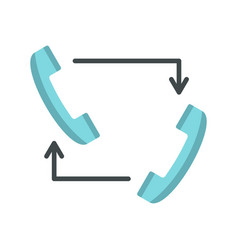 blue handsets with arrows icon flat style vector image