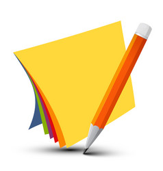 colorful empty papers with pencil isolated on vector image