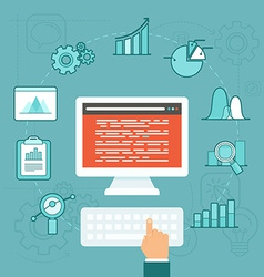 data analytics concept in flat style vector image vector image
