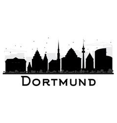 dortmund city skyline black and white silhouette vector image vector image