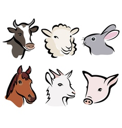 farm animals icons vector image vector image