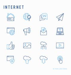 internet thin line icons set vector image