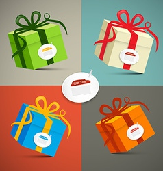 Paper Retro 3d Gift Boxes Set vector image