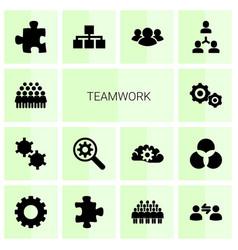 14 teamwork icons vector image