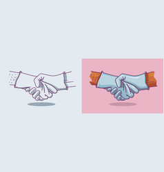a handshake in medical gloves vector image