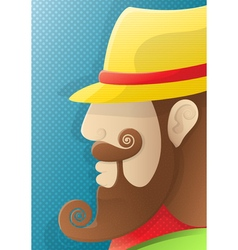 a man with a curly beard and a yellow hat vector image