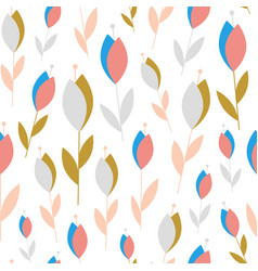 abstract small flowers on white seamless pattern vector image