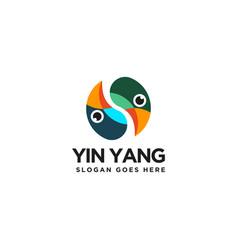 abstract yin yang bird logo icon template vector image