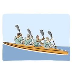 Academic canoe rowing flat vector