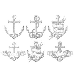 anchors set hand drawn sketch vector image