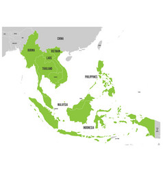 asean economic community aec map grey map with vector image