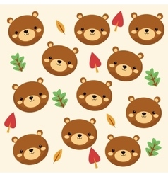 Bear cartoon icon Woodland animal graphic vector image