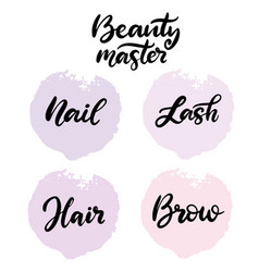 Beauty master lettering vector