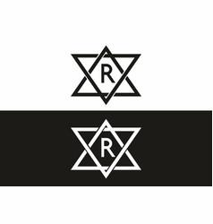 black white r initial letter in star frame vector image