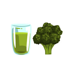 Broccoli vegetable juice glass of natural vector