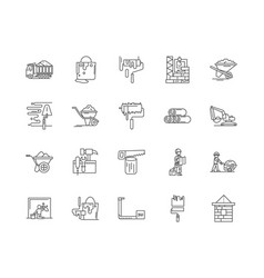 build materials line icons signs set vector image