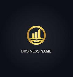 Business arrow graph company gold logo vector