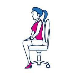 business woman person sitting office chair in blue vector image