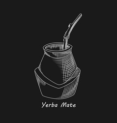 Calabash for yerba mate drink on black background vector