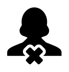 Cancel user icon female person profile avatar vector