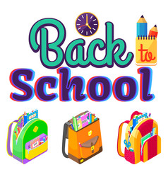 caption back to school backpacks and stationery vector image