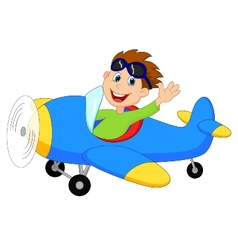 Cartoon little boy operating a plane vector