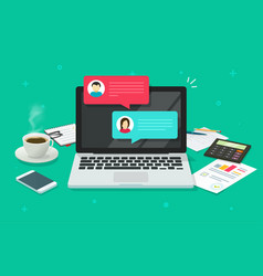 Chat messages on computer online vector