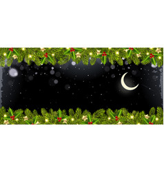 christmas horizontal banner with christmas tree vector image