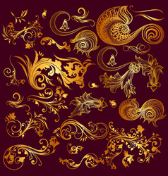 Collection of ornaments in gold vintage style vector