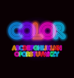colored neon font colorful outlines letter set vector image