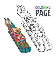 coloring page with people play ice skating cartoon vector image