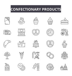 confectionary products line icons signs vector image