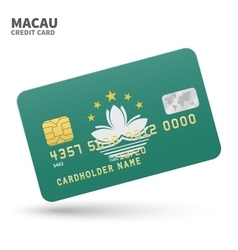 Credit card with Macau flag background for bank vector