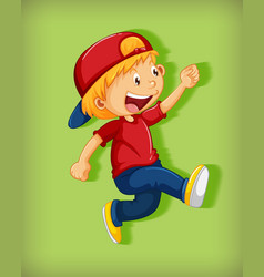 cute boy wearing red cap with stranglehold in vector image