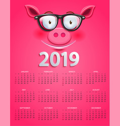 cute calendar for 2019 year with clever pigs face vector image