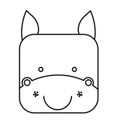 Cute horse animal head expression vector