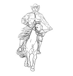 drawing black and white of cowboy riding horse vector image