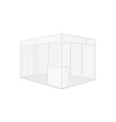 exhibition booth mockup with table side view vector image