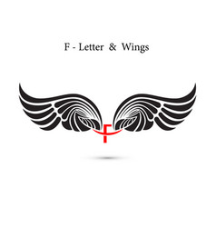 F-letter sign and angel wingsmonogram wing logo vector
