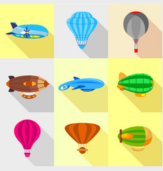 Fantastic airships icons set flat style vector