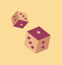 Flat icon on background poker dice lucky vector