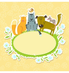 frame with pets vector image