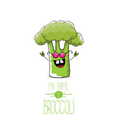 Funny cartoon cute green broccoli character vector