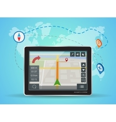 Geolocation gps navigation touch screen tablet vector