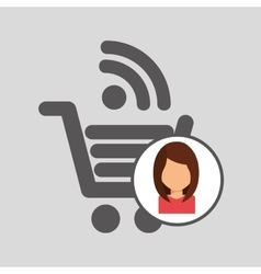 Girl character wifi e-commerce vector