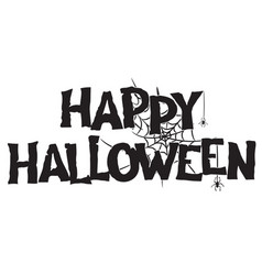happy halloween handwritten text and spiderweb vector image