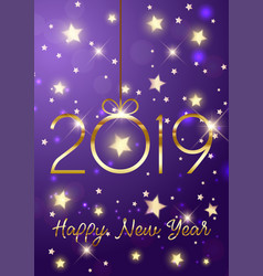 happy new year background with gold lettering vector image