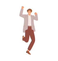Happy smiling man jumping from joy and celebrating vector
